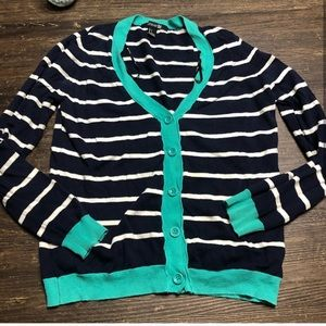 Forever 21 Navy & Teal Stripped Button Cardigan S